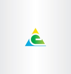letter e colorful triangle sign element vector image