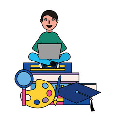 man using laptop with books vector image