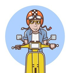 Man with orange helmet riding a yellow scooter vector