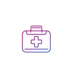 Medical bag icon linear vector