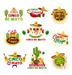 mexican cinco de mayo holiday mexico icons vector image