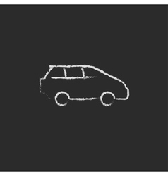Minivan icon drawn in chalk vector