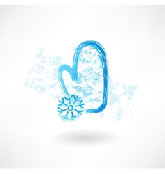 mitten and snowflake grunge icon vector image