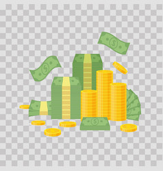 money bundle and coin stack on transparent vector image