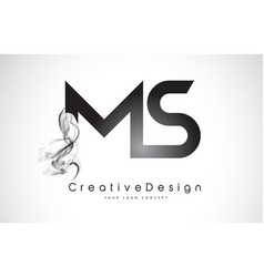 Ms letter logo design with black smoke vector