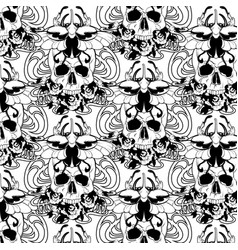 pattern with hand drawn human vector image