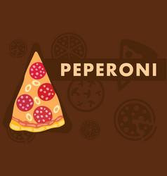 Pepperoni pizza web banner flat cartoon template vector