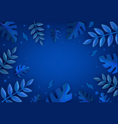plant trees leaves in paper art style on dark blue vector image