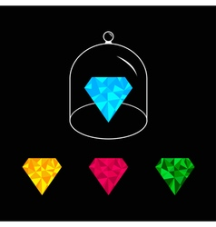 Polygonal diamond set Pink blue yellow green Glass vector