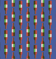 Pop art red wine bottle seamless pattern vector
