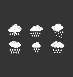 rainy cloud icon set grey vector image