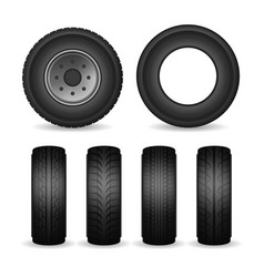 realistic detailed 3d black rubber tires and car vector image
