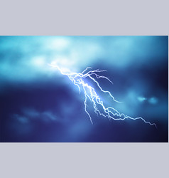 realistic lightning effect isolated on a dark blue vector image