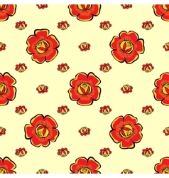 Red flowers seamless pattern background vector image