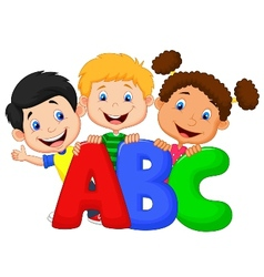 School kids cartoon with abc vector