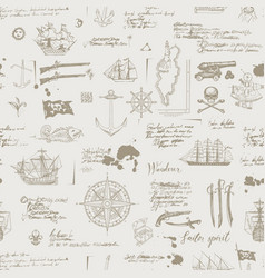 seamless pattern on theme pirate adventures vector image