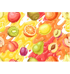 seamless pattern with ripe fruits vector image