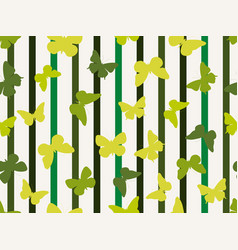 seamless stripe pattern with butterflies summer vector image