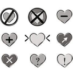 series of heart-shaped symbols vector image