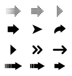 set of black arrows arrows collection vector image