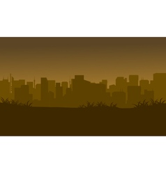 Silhouette of city in the fields vector image