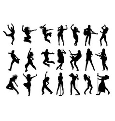Silhouettes rock or pop band musicians vector