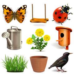 spring season icons vector image vector image