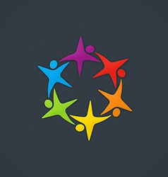 star circle people diversity logo vector image