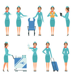 Stewardess characters various mascots in action vector