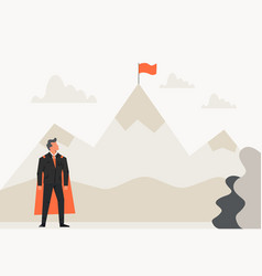 super businessman looking a flag on top mountain vector image