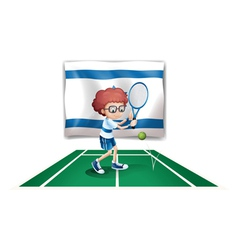 The flag of Israel with a tennis player vector image