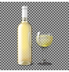 Transparent realistic bottle for white wine with vector image