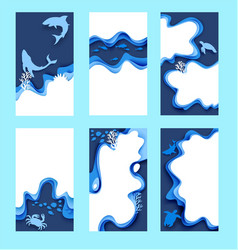 Underwater world social media stories posts vector