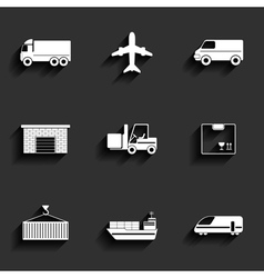 Vehicle transport and logistics flat icons vector image