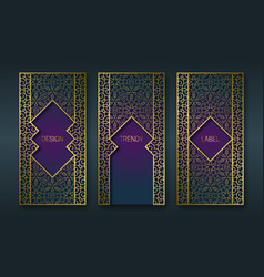 Vintage golden packaging design in oriental style vector