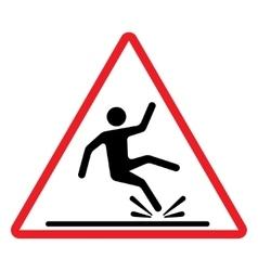 Wet floor caution sign vector