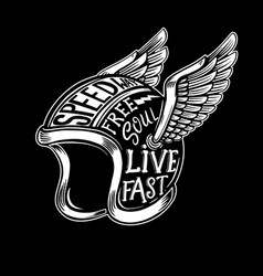 Winged motorcycle helmet with lettering on dark vector