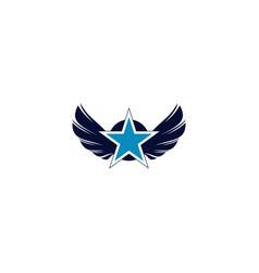 Wings star logo design vector
