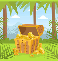wooden ancient chest gold on tropical island vector image