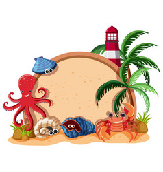 Border template with sea animals and lighthouse vector