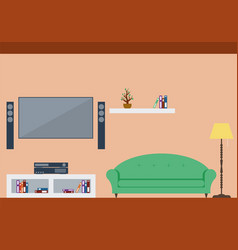 Living room interior design with furniture vector