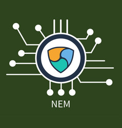 nem cryptocurrency poster vector image