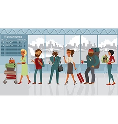 people in the airport with luggage vector image vector image