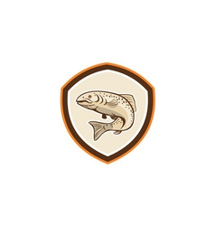 Rainbow Trout Jumping Cartoon Shield vector image