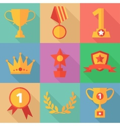 success concept icons in flat design style vector image