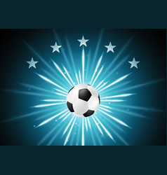 Abstract soccer background with ball and stars vector image vector image