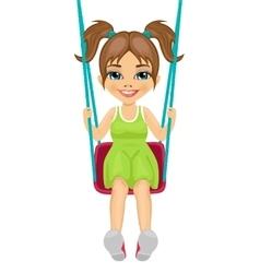 Adorable girl having fun on a swing vector