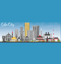 Cebu city philippines skyline with gray buildings vector
