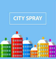 city buildings of spray paint banner vector image vector image