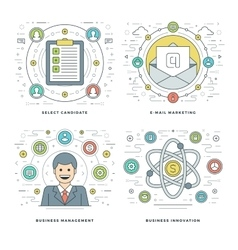 Flat line Management Employee Search E-mail vector image vector image
